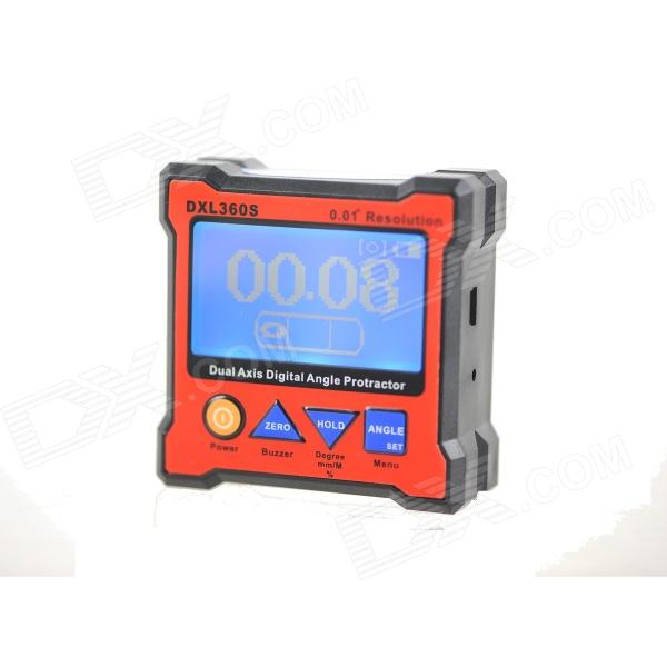"ZnDiy-BRY DXL360S 2.3"" LCD Digital Protractor Inclinometer Level Box w/ Gyro - Black + Red"