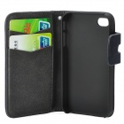 Squirrel Grain Style Protective PU Leather + Plastic Case for IPHONE 4 / 4S - Dark Blue