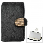 Stylish Protective PU Leather Fur Case for IPHONE 5 - Black