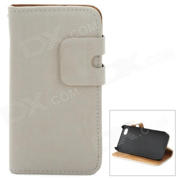 Squirrel Grain Style Protective PU Leather + Plastic Case for IPHONE 4 / 4S - Beige remax protective flip open pu leather case w visual window for iphone 4 4s white