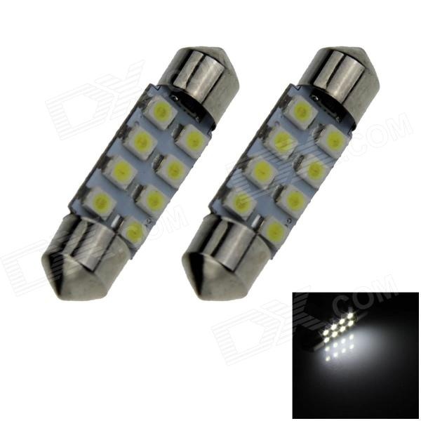 Lâmpada do carro da luz branca do festão 36mm 0.8W 70lm 8 * SMD 1210 LED (2PCS)