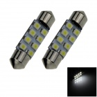 Festoon 36mm 0.8W 70lm 8 x SMD 1210 LED White Light Car Reading / Roof / Dome Lamp - (12V / 2 PCS)