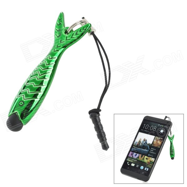 Fish Style Capacitive Touch Screen Stylus Pen w/ Anti-Dust Plug for Cell Phone - Green + Black touch screen stylus pen with 3 5mm earphone plug for samsung galaxy s2 i9100 i9000 silver
