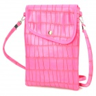 Mini Stone PU Leather Pouch Bag w/ Hanging Strap for IPAD MINI / RETINA IPAD MINI - Deep Pink