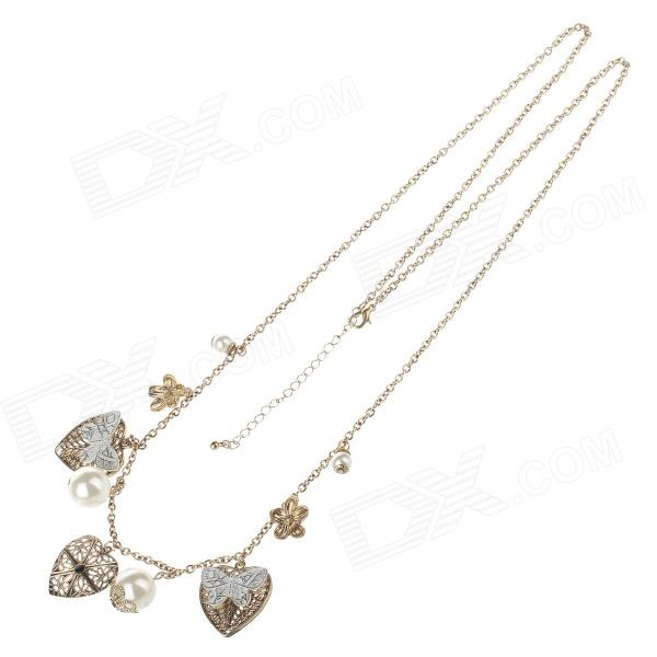 Fashionable Leaf + Butterfly Style Flexible Women's Sweater Necklace - White + Golden
