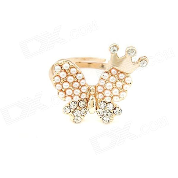 Fashionable Lovely Crown on the Wing of Butterfly Pattern Ring - Golden + White