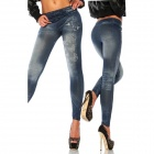 MaswiLLGraffiti Design Sexy Women Stretch Tight Pants Imitation Cowboy Leggings - Blue (Free Size)