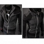 Men's Contrast Color Double Zipper Hooded Sweater - Black + Dark Light (XL)