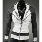 Men's Contrast Color Double Zipper Hooded Sweater - Light Grey + White (L)