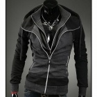 Men's Contrast Color Double Zipper Hooded Sweater - Black + Dark Grey (L)