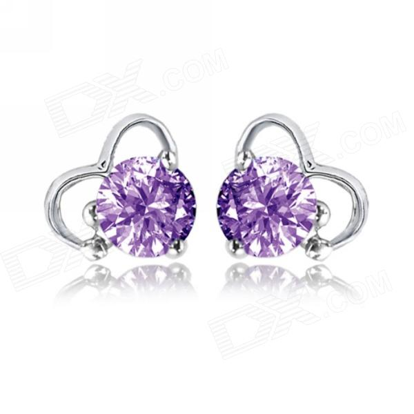 EQute eQuteCOO14H60 S925 Sterling Silver 1 Carat Purple Zircon Earring sterling silver ear thread