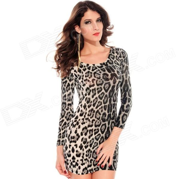 LC2683-1 Velvet Crew Neck Leopard Mini Dress - Grey crew neck velvet bodycon dress