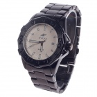 SPEATAK 60209G Stylish Stainless Steel Men's Quartz Wristwatch w/ Simple Calendar - Black + Beige