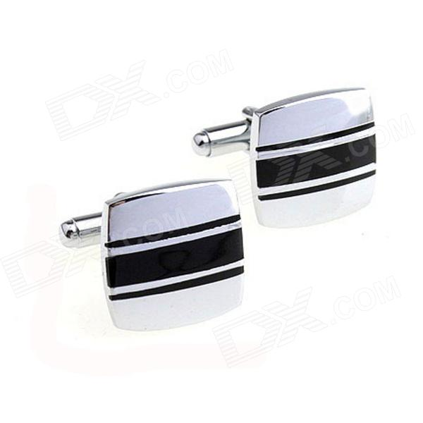 Stylish Line Design Men's Cufflinks - Silver White + Black (Pair)