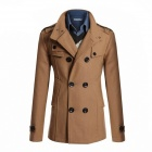 AOWO MBB-F66 Stylish Men's Slim Fit Long Coat - Khaki (Size-XXL)