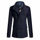 AOWO MBB-F66 Stylish Men's Slim Fit Long Coat - Navy (Size-XXL)