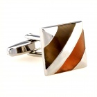 Square Oblique Pattern Men Cufflinks - Silver + Coffee (Pair)