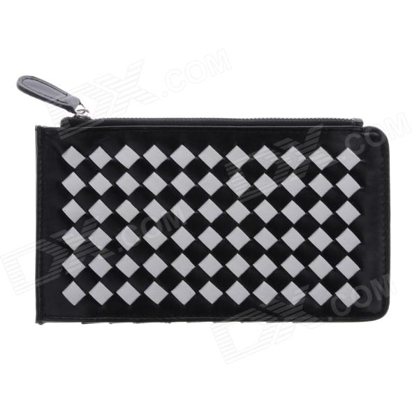 Fashionable Multilayer Woven PU Leather Wallet for Women - Black + White