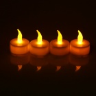 PZCD MY-02 Tine Style Flame Twinkle LED White Candle with Yellow Light - (4 PCS / 4 x CR2032)