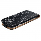 Floral Print Crystal Decorated Protective PU Leather Case Cover for Samsung Galaxy S4 i9500 - Black