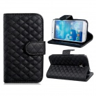 Plaid Style Protective PU Leather Case Cover Stand for Samsung Galaxy S4 i9500 - Black