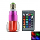 E27 3W 270lm 6500K 7-Color Light Crystal Lamp w/ Remote Controller - Purple (AC 85~265)