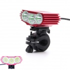 ZHISHUNJIA 3-LED 2600lm 4-Mode White Bike Light w/ Taillight - Red + Black (4 x 18650)