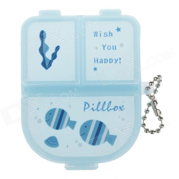 Cute Carton 3 Cells PP Medicine Capsule Storage Management Box - Light Blue