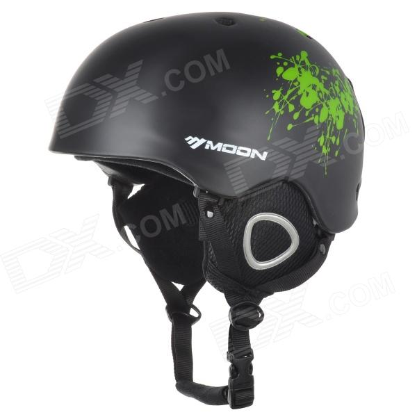 Moon MS-90 Skiing Protective PC + EPS Helmet - Black + Green (Size M)