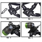 RichFire SF-90 LED 800lm White 4-Mode Bicycle Headlight Headlamp - Gray + Green (4 x 18650)