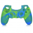 Anti-Slip Protective Silicone Case Cover for PS4 - Green + Blue