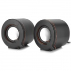 USB Mini Speakers w/ 3.5mm Plug - Black + Silver + Multicolored (2 PCS)