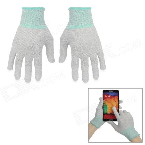 Elastic Thin Warm Cotton + Conductive Fiber Touch Finger Glove - Grey + Green (M)