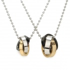 SHIYING TG000615 Stylish 3-ring Pendant 316L Stainless Steel Couple's Necklace - Golden + Silver
