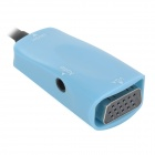 shanghezhong CHZ04 High Quality HDMI to VGA Adapter + 3.5mm Audio Cable - Blue (11cm / 100cm)