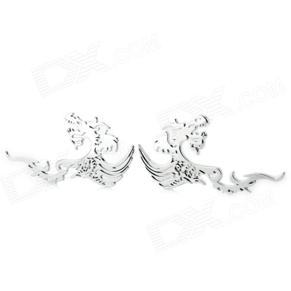 Stylish Zinc Alloy Dragon Car Decoration Sticker - White Silver (2 PCS) платье express dress цвет серый