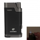 COHIBA 5373 Mini Portable Jet Flame Strong Fire Windproof Refillable Lighter - Black + Silver Gray