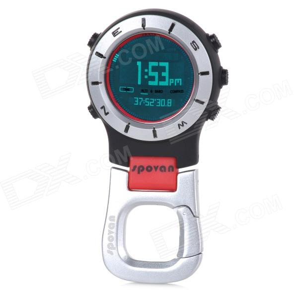 Spovan Elementum II Red-A Multifunction Handheld Sport Watch w/ Barometer Compass - Red + White tumo int 60 amp pwm smart solar controller 48v input with lcd display