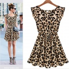 JM9018 Stylish Leopard Pattern Dress - Black + Leopard Grain (XL)