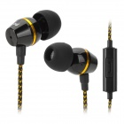 L2 Universal 3.5mm In-ear Earphone w/ Microphone - Black + Golden