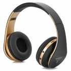 KG-5012 Bluetooth v3.0 Headband Headphone w/ TF / FM / Mini USB / 3.5mm / Mic - Black + Golden