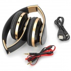 KG-5012 bluetooth v3.0 headband auriculares con TF / FM / mini USB / 3.5mm / mic - negro + dorado