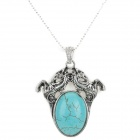 LSSSM Retro Fashionable Turquoise Inlaid Double Horse Pendant Silver Plating Necklace - Pine Green