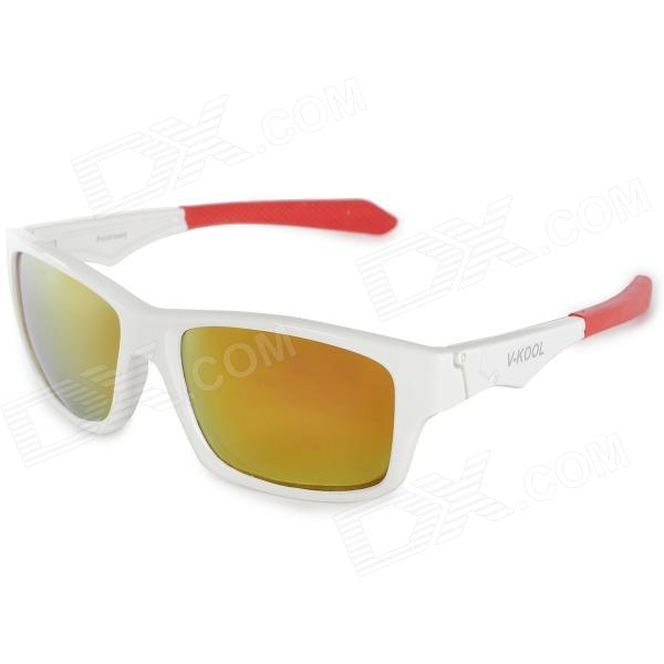 V-KOOL 7112 Outdoor Sports Polarized UV400 Sunglasses Goggles - White + Red robesbon 0089 outdoor sports cycling clear view goggles sunglasses black