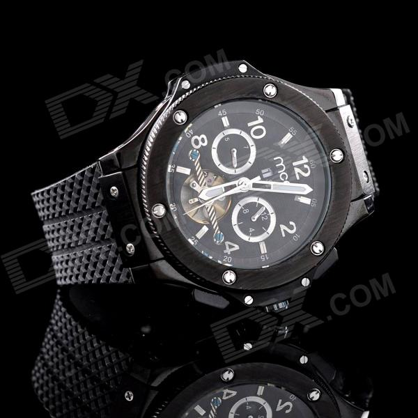 MCE 01-0060253 Men's Tourbillon Analog Mechanical Wristwatch - Black