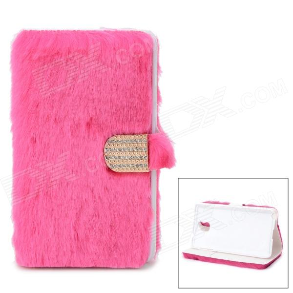 Protective Plastic + Fuzz Case Cover for Samsung Galaxy Note 3 N9000 - Deep Pink