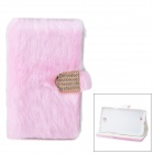 Protective Plastic + Fuzz Case Cover for Samsung Galaxy Note 2 N7100 - Pink