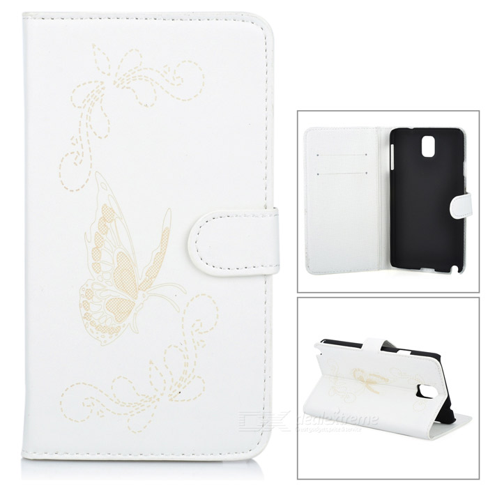 Butterfly Pattern Protective PU Leather Case Stand w/ Card Slot for Samsung Galaxy Note 3 - White lichee pattern protective pu leather case stand w card slot for samsung galaxy s3 i9300 black