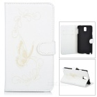 Butterfly Pattern Protective PU Leather Case Stand w/ Card Slot for Samsung Galaxy Note 3 - White
