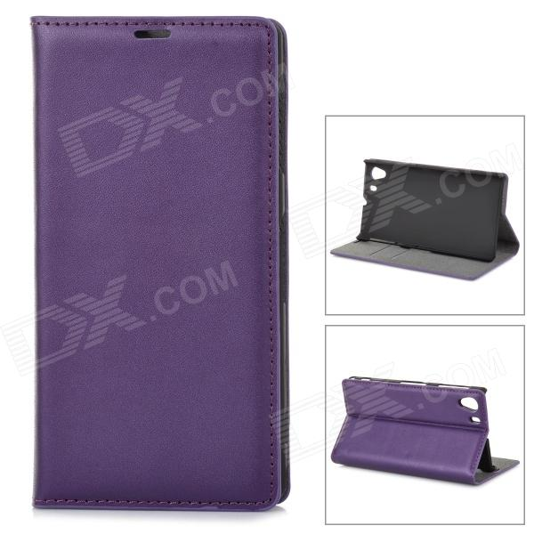 Stylish Protective PU leather Case Cover Stand w/ Card Slots for Sony Xperia Z1 / L39H - Purple protective pu leather case w card holder slots for sony xperia z1 l39h pink